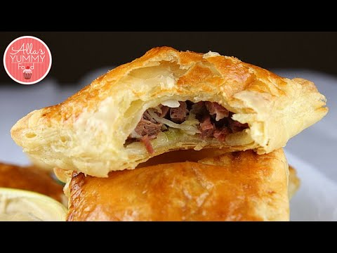 How to Make Beef Turnovers | Beef Puff Pastries | Слоеные пирожки с мясом